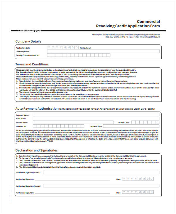 Credit Application Forms In Pdf