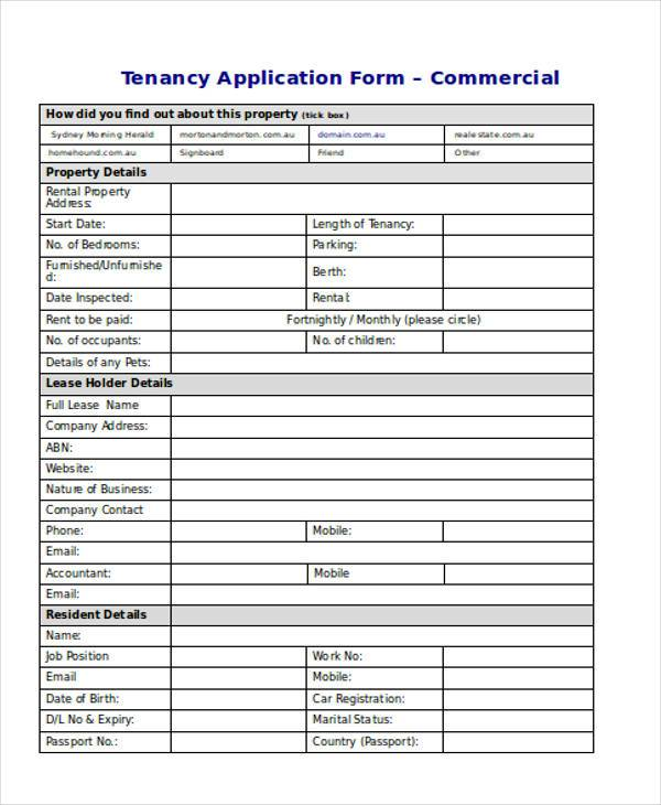 commercial tenancy application forms