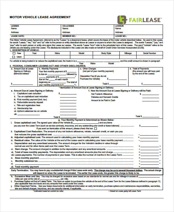 Sample Vehicle Lease Agreement Forms. Motor Vehicle Lease