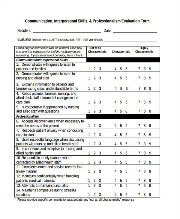 communication skills evaluation form