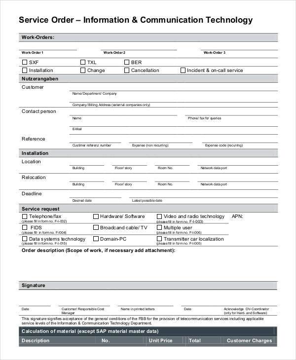 communications technology service order form