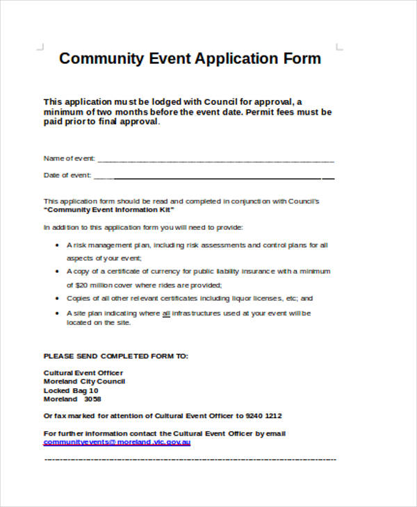 community event application form1