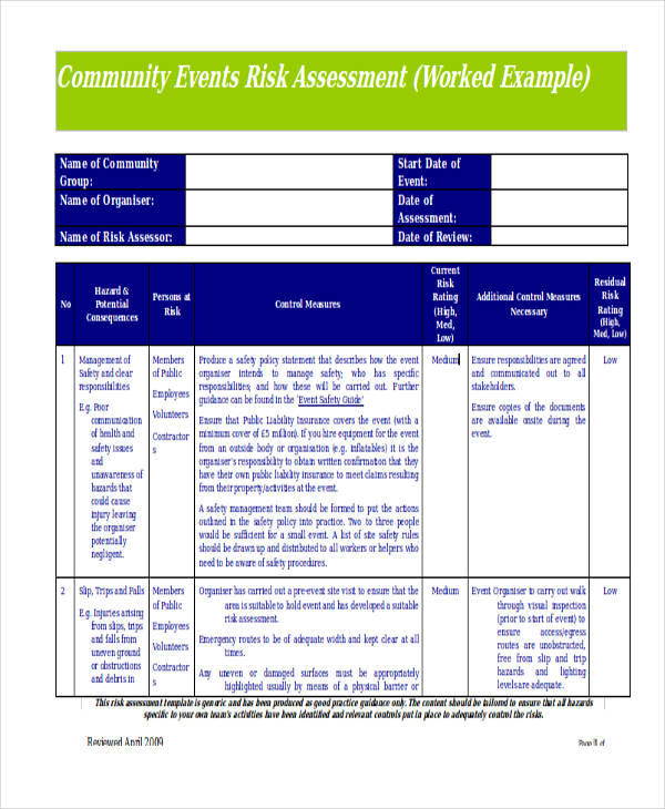 community event risk assessment form in doc