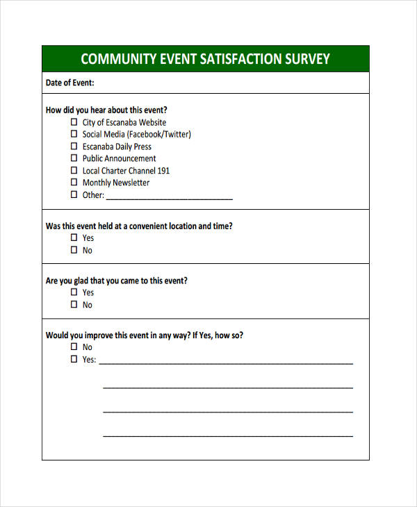 Sample event forms 38 free documents in word pdf for Event survey template word