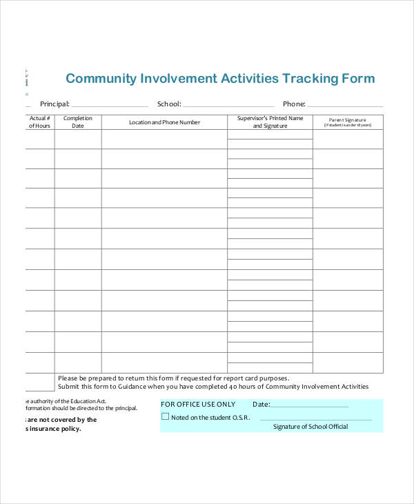 community involvement tracking form