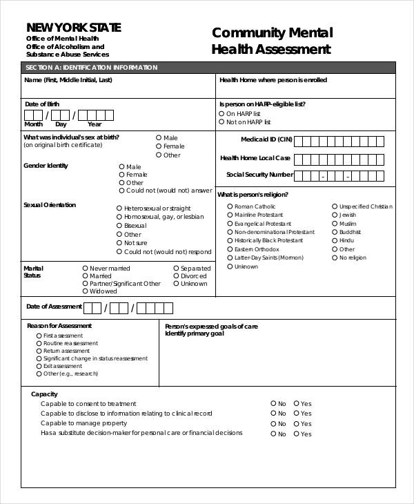 community mental health assessment form