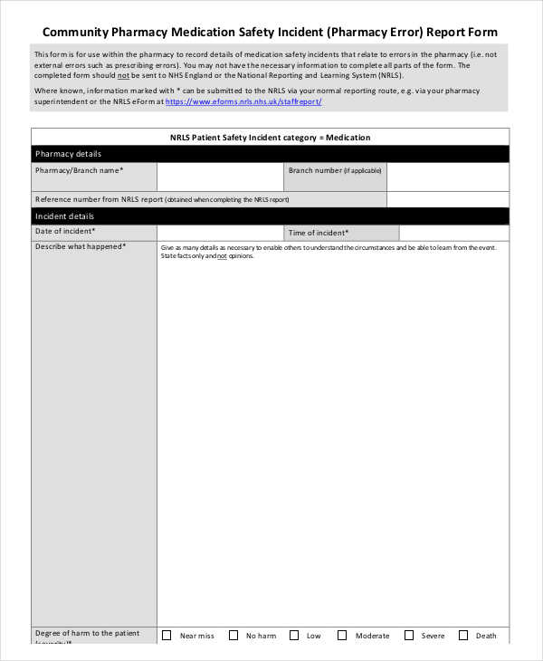 community pharmacy incident report form