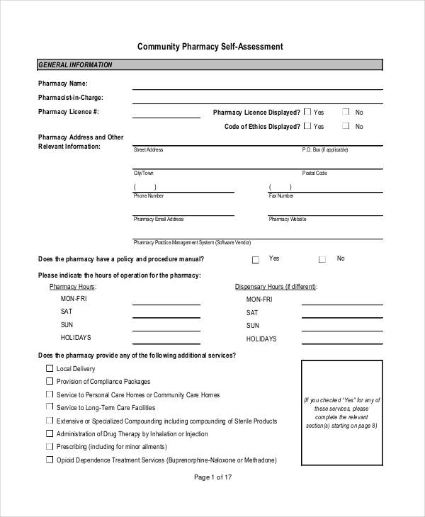 community pharmacy self assessment form