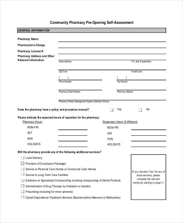 community pre opening self assessment form