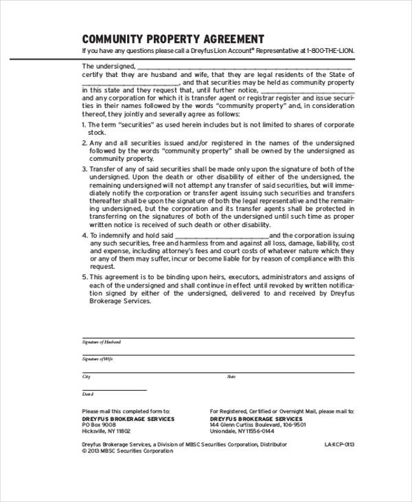 Property Agreement Form Samples  Free Sample Example Format