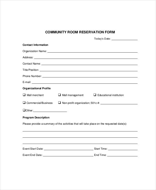 Community Room Reservation Form  Contact Information Form Template
