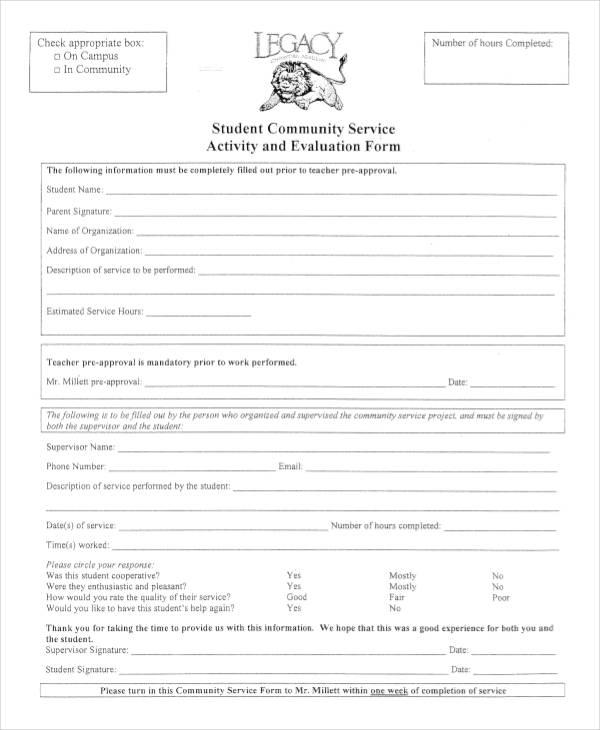 community service activity evaluation form1