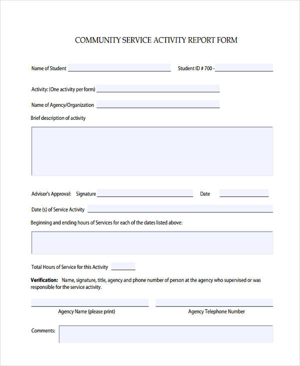 community service activity form1