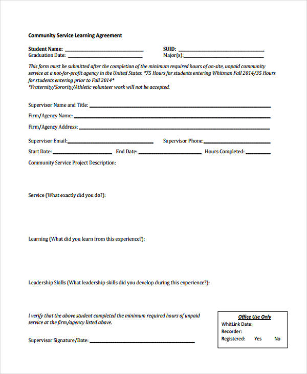 community service learning agreement form