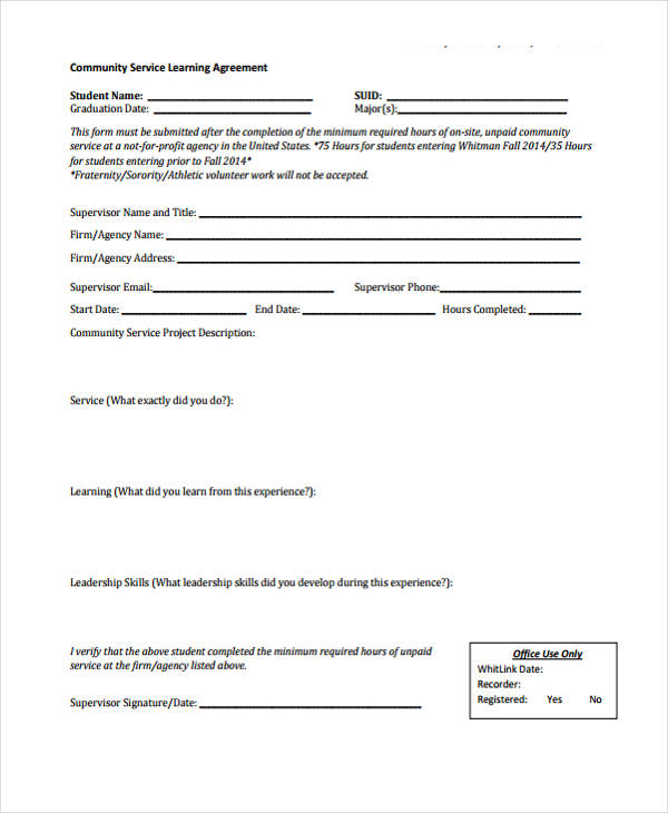 community service learning agreement form1