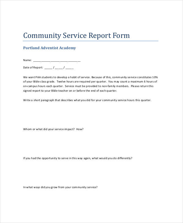 community service report form2
