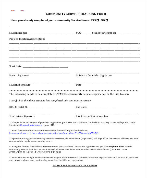Community Service Form For High School Students Image Gallery - Hcpr