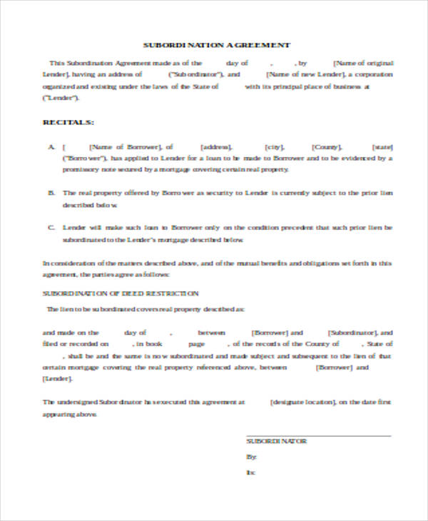 Loan Subordination Agreement Sample