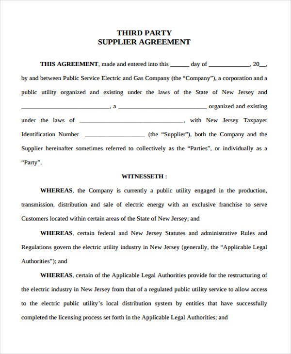 company supplier service agreement form