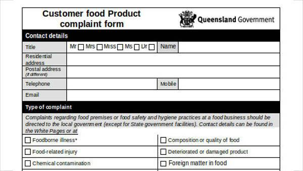 Complaint Forms in Word