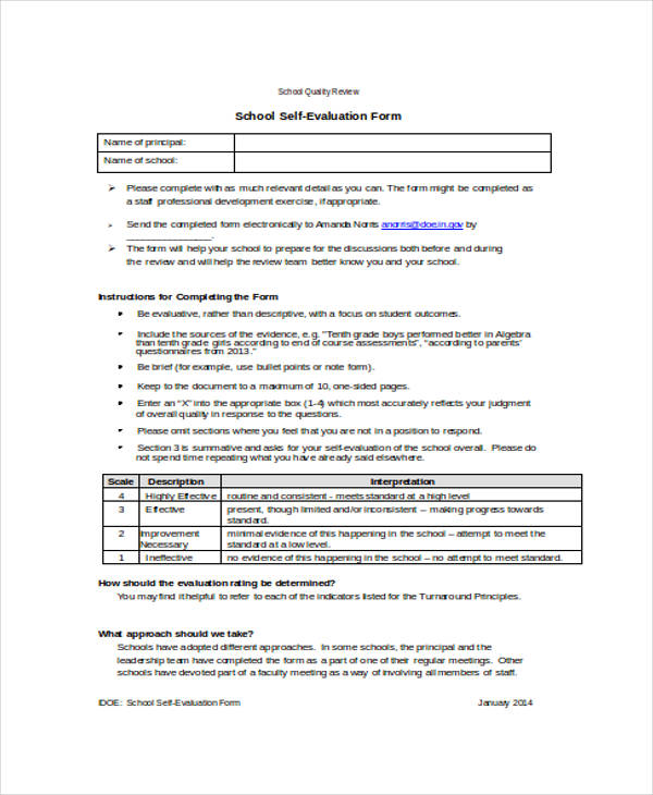 School Self Evaluation Form Self Evaluation Netherlands Research