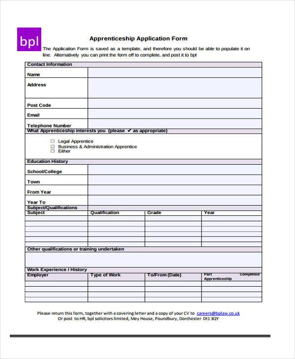 Application Forms Example