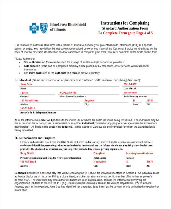 completing authorization form