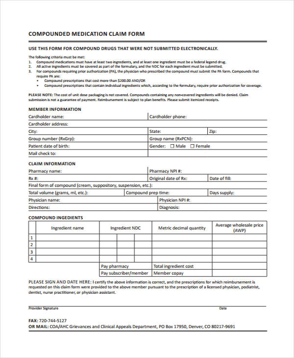 compound pharmacy claim form
