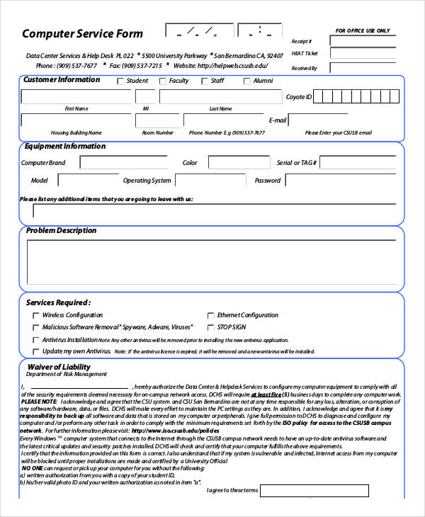 Service Form Template – Customer Information Form Template