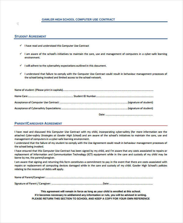 computer use contract agreement form