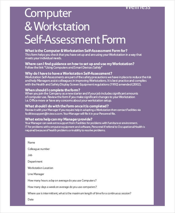 computer workstation self assessment form