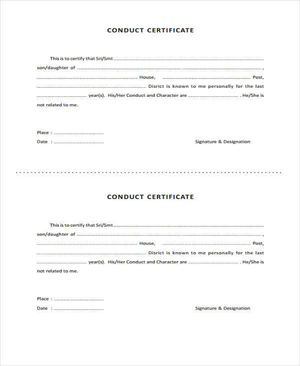 41 sample certificate forms conduct certificate format altavistaventures Image collections