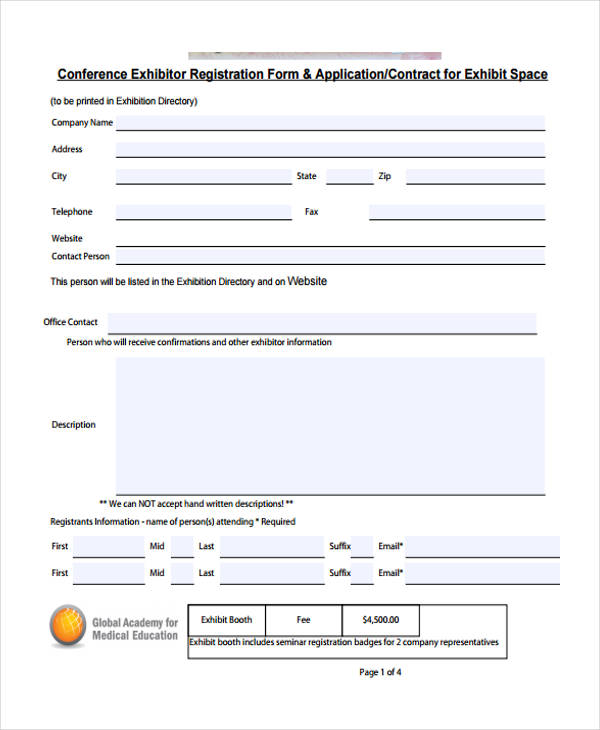 conference exhibitor registration form