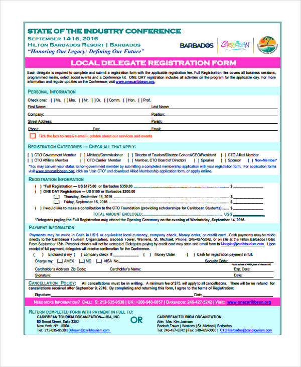 conference local delegate registration application form