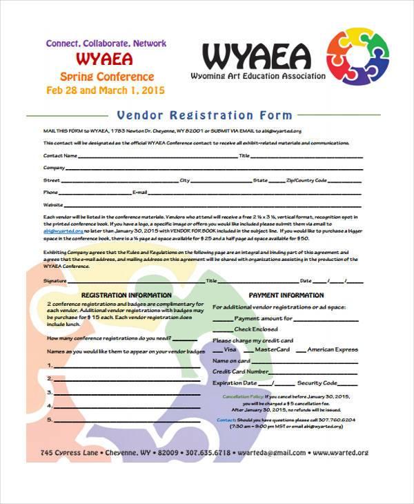 conference vendor registration form