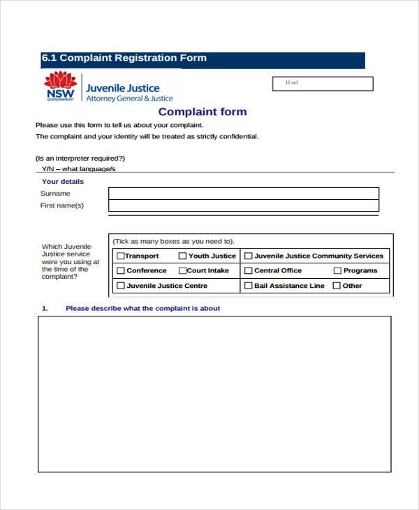 confidential complaint register form