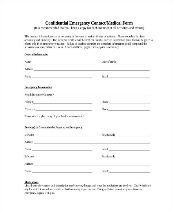 confidential emergency contact medical form