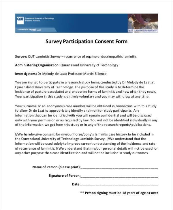 consent form for survey participants
