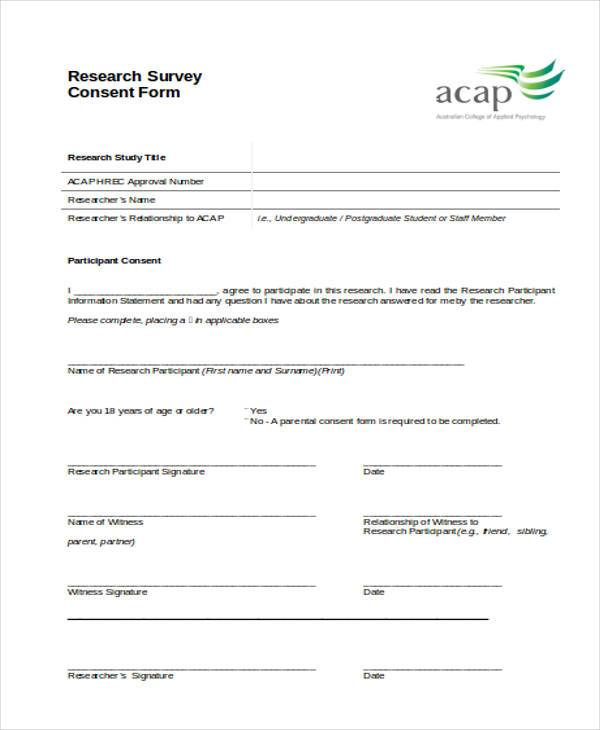 44 Consent Form Samples Free Sample Example Format Download – Survey Consent Form