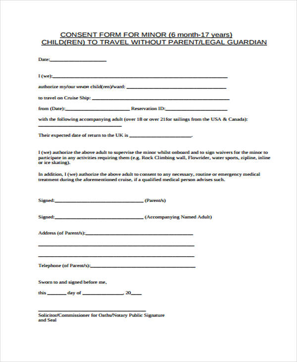 consent of child travel form
