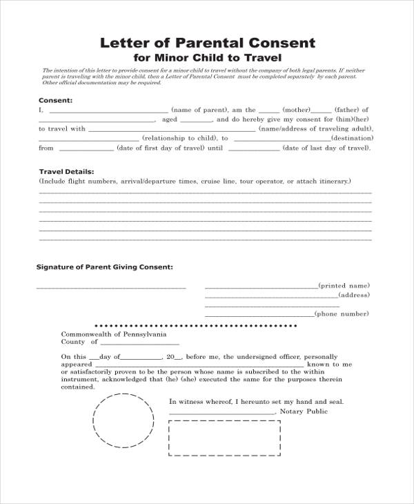 Travel form formats consent to travel form free1 altavistaventures Choice Image