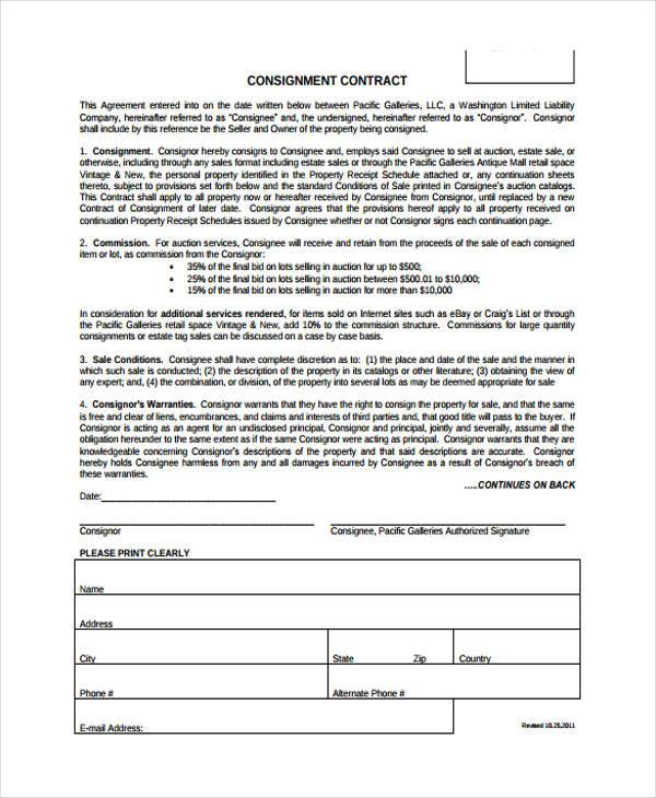 consignment contract form sample
