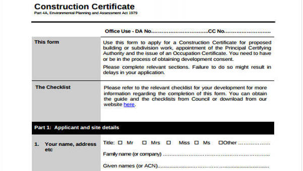 Free 11 Construction Application Forms In Pdf Ms Word