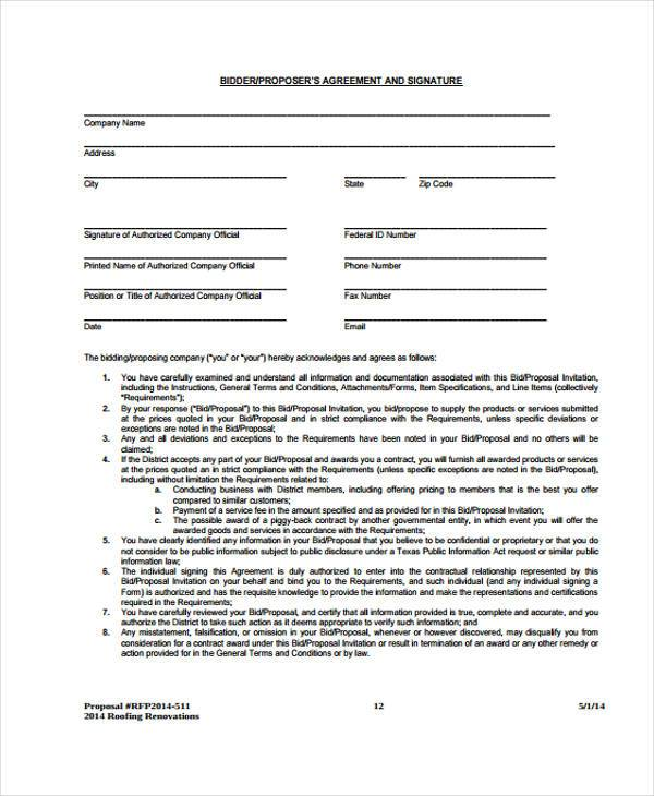 construction bid proposal form template