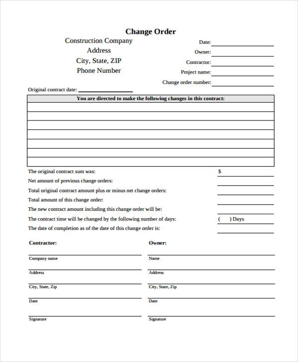 construction change order form2