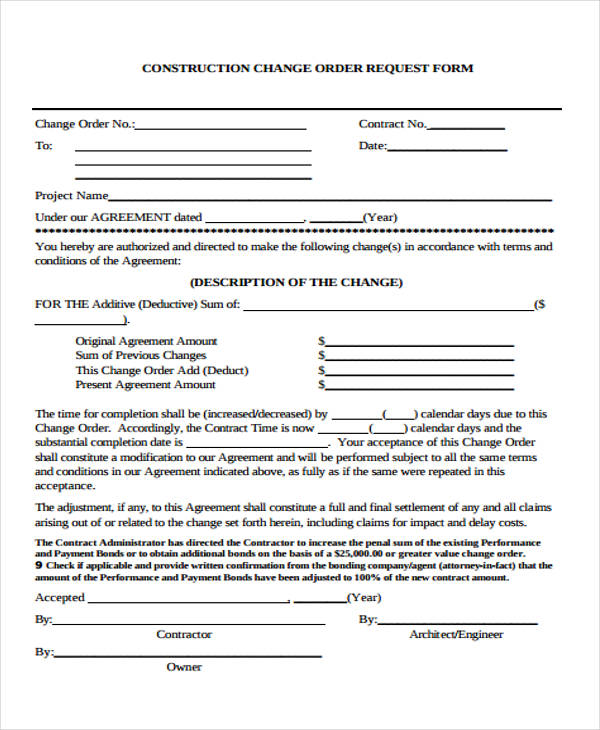 construction change request form