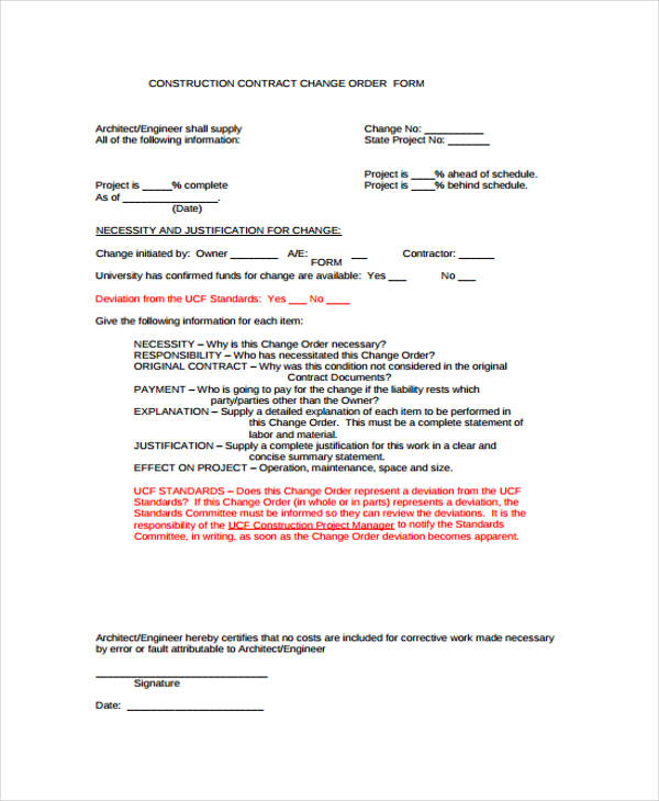 Free Change Forms – Construction Change Order Form