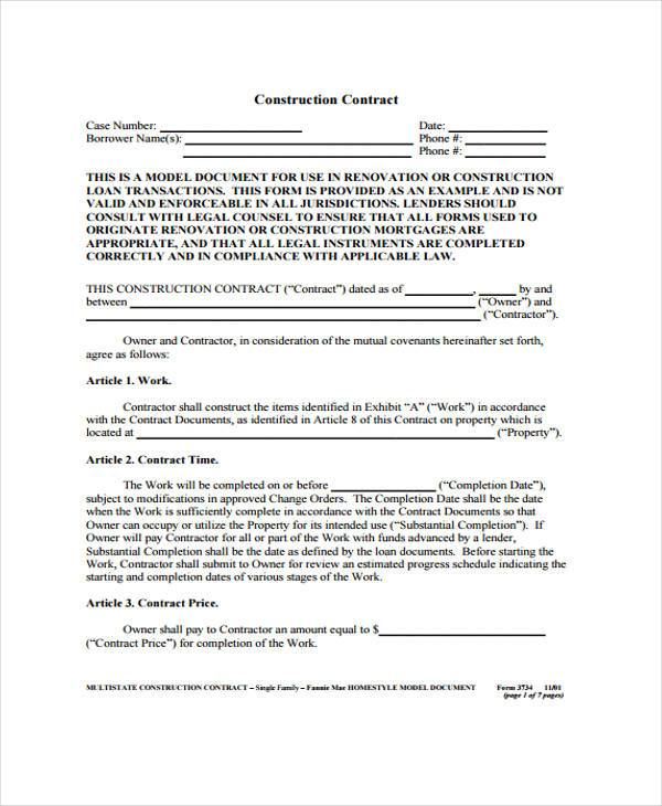 9 Construction Agreement Form Samples Free Sample