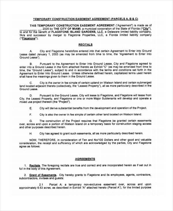 construction easement agreement form sample