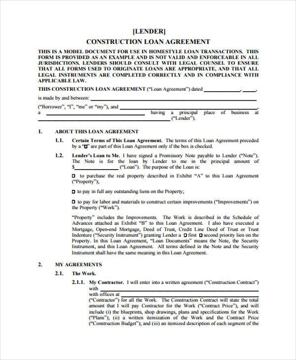 construction loan agreement form example